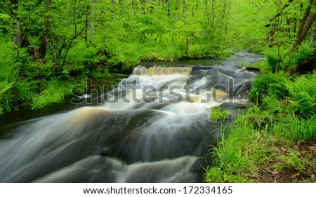 Wolf Creek Flowing Through Banning State Park in Minnesota - stock photo