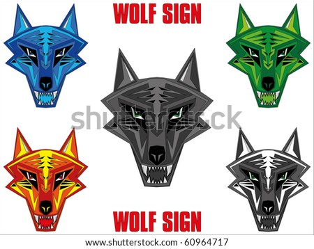 Wolf emblem in sharp futuristic red indian style. - stock photo