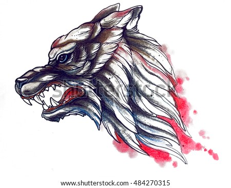 Wolf graphic portrait face illustration
