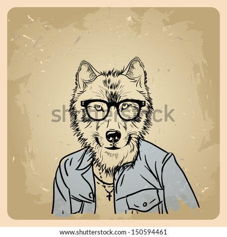 wolf hipster in a jacket on a vintage background  .rasterized/bitmap version - stock photo