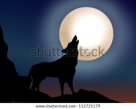 Wolf howling over the full moon - stock photo