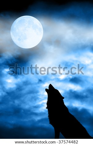 wolf in silhouette howling to the full moon - stock photo