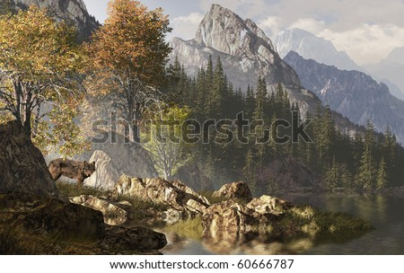 Wolf near a lake in a Rocky Mountain landscape. - stock photo