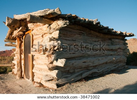 Wolfe Ranch wooden pioneer settlement - stock photo