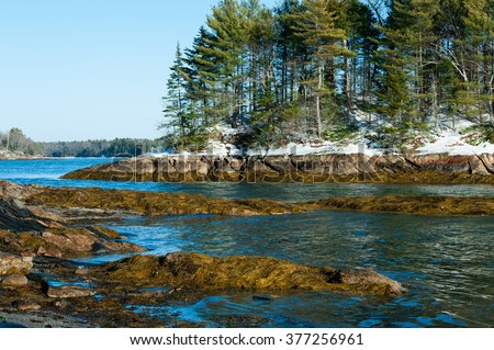 Wolfe's Neck State Park, Freeport, Maine in winter - stock photo