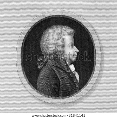 Wolfgang Amadeus Mozart (1756-1791. Engraved by J.Thomson and published in The Gallery Of Portraits With Memoirs encyclopedia, United Kingdom, 1835.