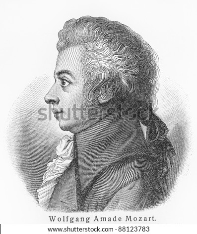 Wolfgang Amadeus Mozart - Picture from Meyers Lexicon books written in German language. Collection of 21 volumes published  between 1905 and 1909. - stock photo