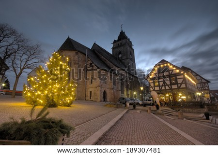 WOLFHAGEN, GER - DEC 16,view of the market place and church at christmas time, Wolfhagen, Germany, December 16, 2013 - stock photo