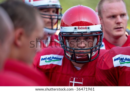 WOLFSBERG, AUSTRIA - AUGUST 20 American Football B-EC: WR Martin Vester (#15, Denmark) and his team beat the Czech Republic 34:0 on August 20, 2009 in Wolfsberg, Austria.