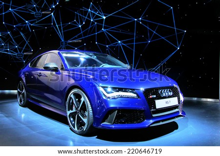 WOLFSBURG, GERMANY - AUGUST 14, 2014: German car Audi RS7 at the museum of the Volkswagen Autostadt. - stock photo