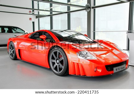 WOLFSBURG, GERMANY - AUGUST 14, 2014: German concept of the sportscar Volkswagen W12 Coupe at the museum of the Volkswagen Autostadt. - stock photo
