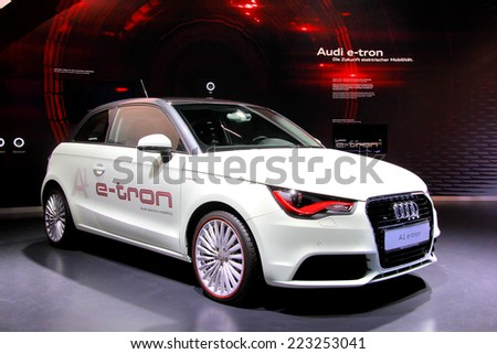 WOLFSBURG, GERMANY - AUGUST 14, 2014: German motor car Audi A1 e-tron at the museum of the Volkswagen Autostadt. - stock photo