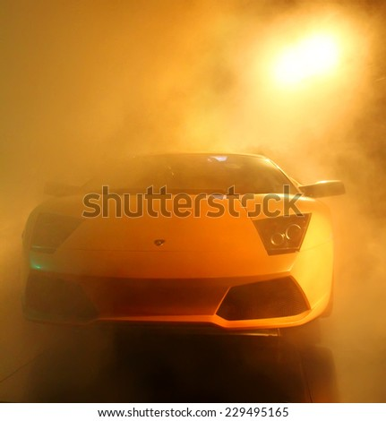 WOLFSBURG, GERMANY - AUGUST 14, 2014: Italian supercar Lamborghini Murcielago at the museum of the Volkswagen Autostadt. - stock photo