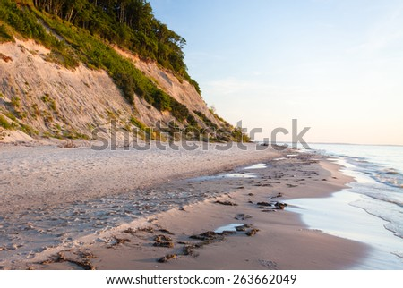 Wolin National Park, Baltic Sea shore, sunrise, Pomerania, Poland, Europe - stock photo