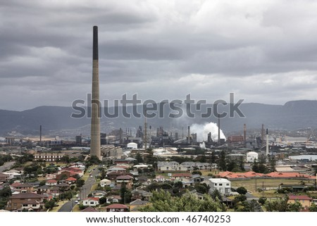 Wollongong, New South Wales, Australia. Industrial architecture. Factory chimneys, manufacturing facility.