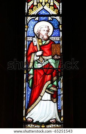 Wolverhampton in West Midlands, England. Saint Peter stained glass in St. Peter's Collegiate Church.