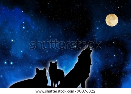 wolves pack in silhouette against a blue starred sky with full moon - stock photo