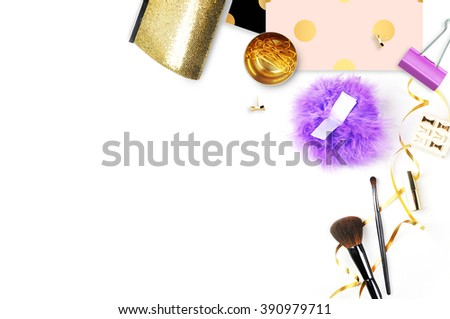 Woman accessories, make up cosmetics, brushes and lipstick on white background top view. Gold Handbag and stationery. Mock-up. Feminine scene. header site or hero site. Blog image. Flat lay image  - stock photo