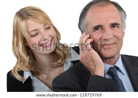 Woman admiring her boss - stock photo
