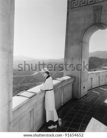 Woman admiring view from observatory Hollywood California USA