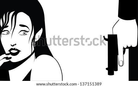 Woman afraid of man with a gun. jpg - stock photo