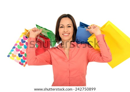 woman after shopping - stock photo
