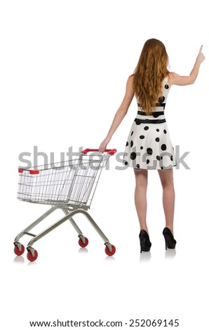 Woman after shopping in the supermarket isolated on white - stock photo