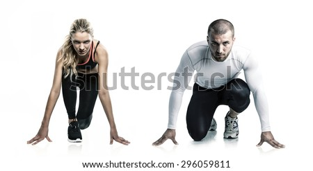 Woman against man - stock photo