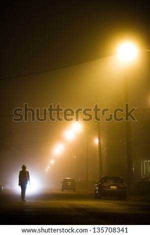 Woman alone in the middle of the foggy street - stock photo