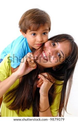 Woman and a Boy on white background .