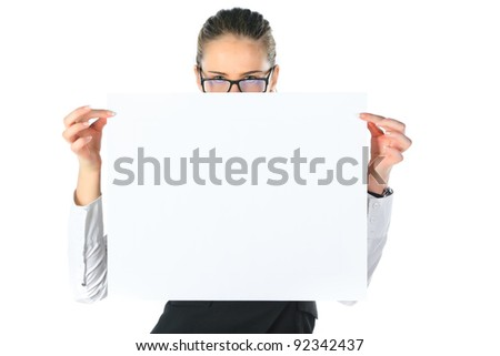 woman and a clean sheet in her hands. isolated onwhite - stock photo