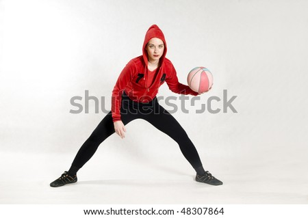 Woman and basketball