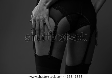 Woman and black stockings, toning and sepia