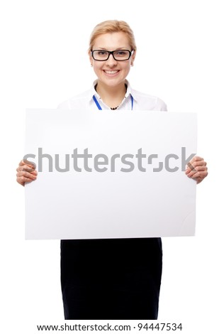 Woman and blank placard. Isolated over white. - stock photo
