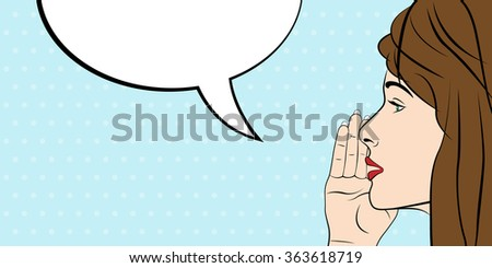 Woman and blank speech bubble, pop art style - stock photo