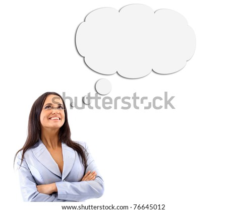 Woman and Blank Thought Bubbles with Clipping Path Isolated on a White Background