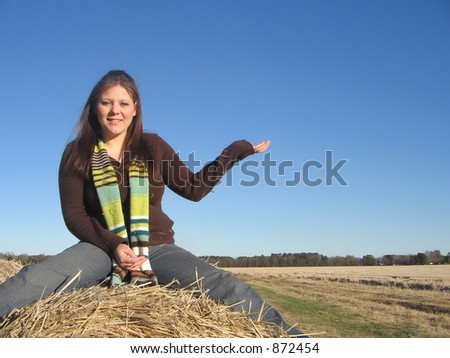 Woman and blue sky. - stock photo
