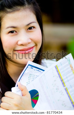 Woman and business chart graph - stock photo
