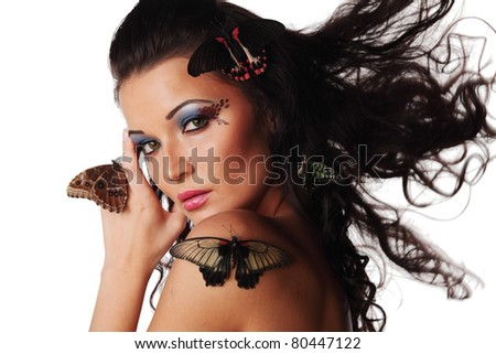woman and butterfly on white - stock photo