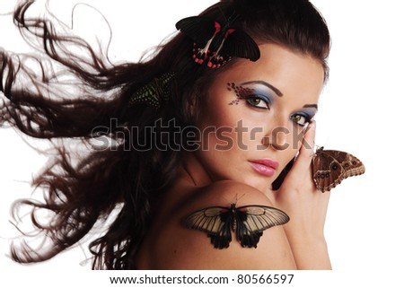 woman and butterflys - stock photo