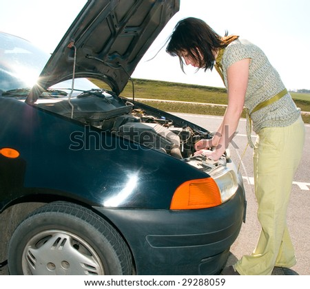 woman and car - stock photo