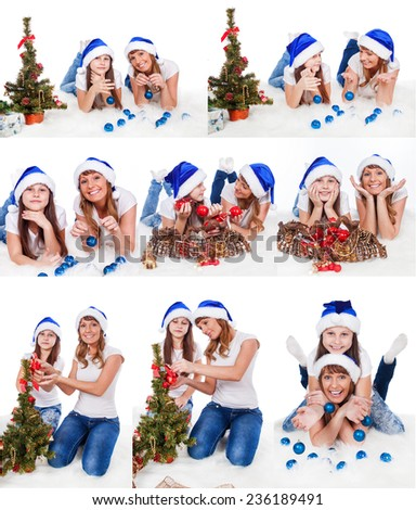 woman and child decorate the Christmas tree. selection of nine photos - stock photo