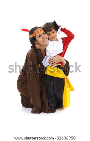 Woman and Child playing with costumes .