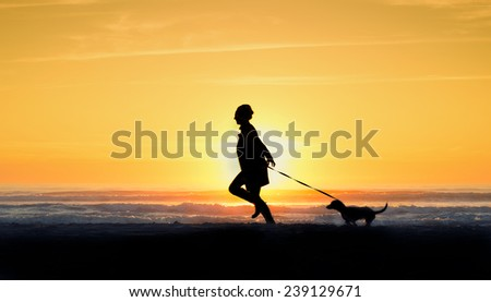 woman and dog at sunset - stock photo