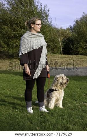 Woman and dog training - stock photo