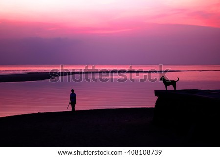 Woman and dog with sunset on the beach. - stock photo