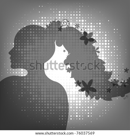 Woman And Flower - stock photo
