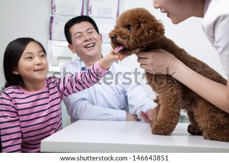 Woman and girl with pet dog in veterinarian's office - stock photo