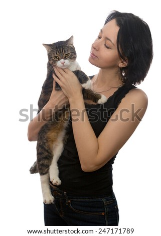 Woman and grey cat, isolated on white background - stock photo