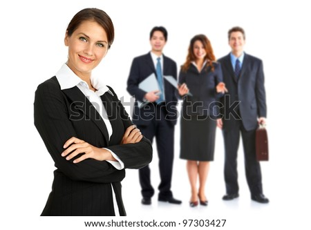 Woman and group of business people. Isolated over white background.. - stock photo